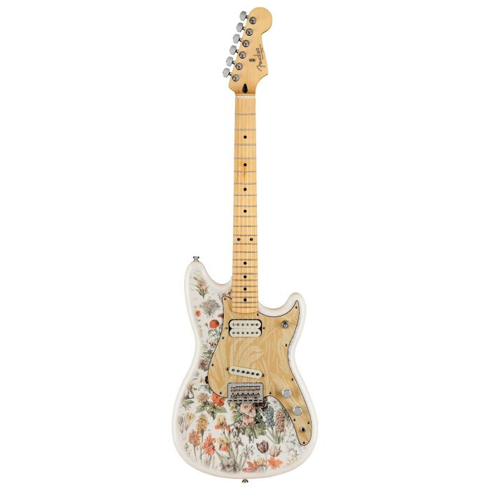 Full frontal view of a Fender Shawn Mendes Signature Musicmaster Floral