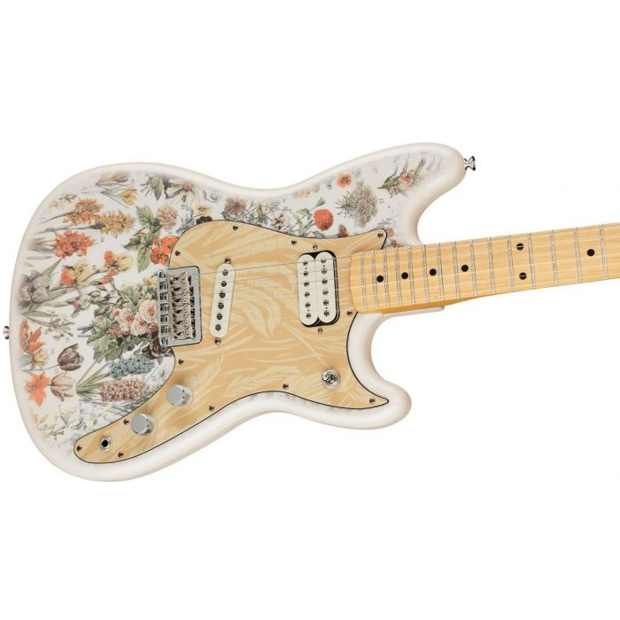 Front angled view of a Fender Shawn Mendes Signature Musicmaster Floral