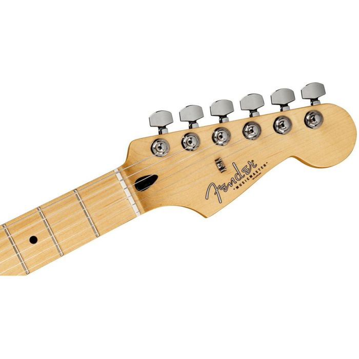 Closeup of the headstock on a Fender Shawn Mendes Signature Musicmaster Floral