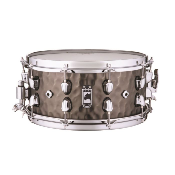 Full view of a Mapex Black Panther Persuader Hammered Brass Snare