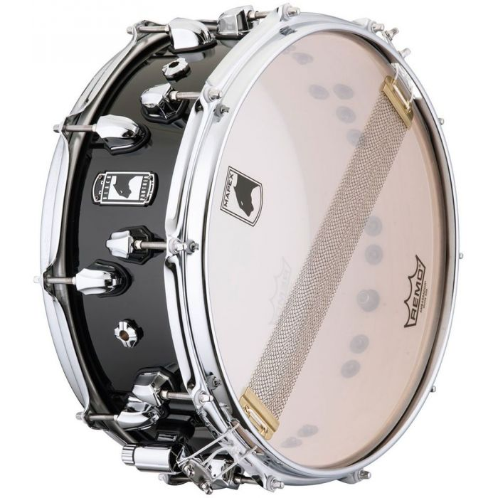 Underside view of a Mapex Black Panther Nucleus Snare