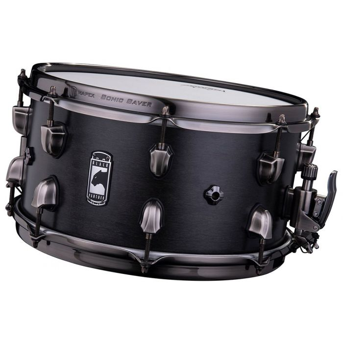 Front tilted view of a Mapex Black Panther Hydro Snare