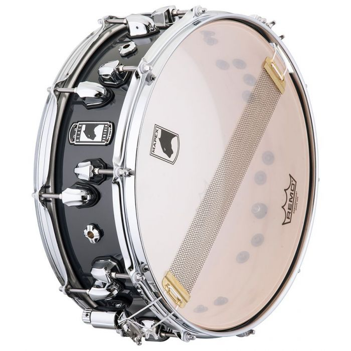View of the snare head on a Mapex Black Panther Razor Maple Snare