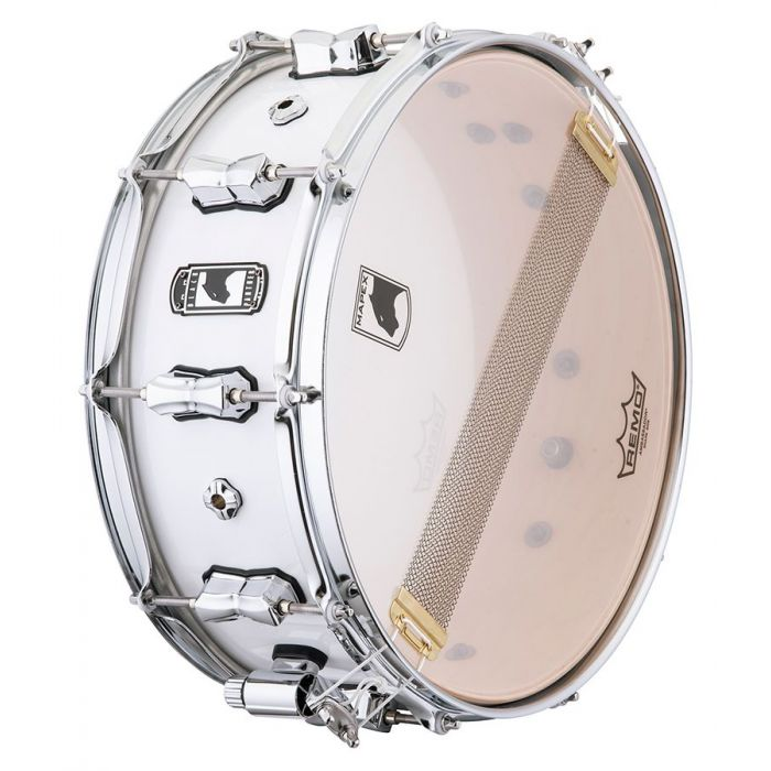 Underside view of a Mapex Black Panther Venmop Maple Shell Snare
