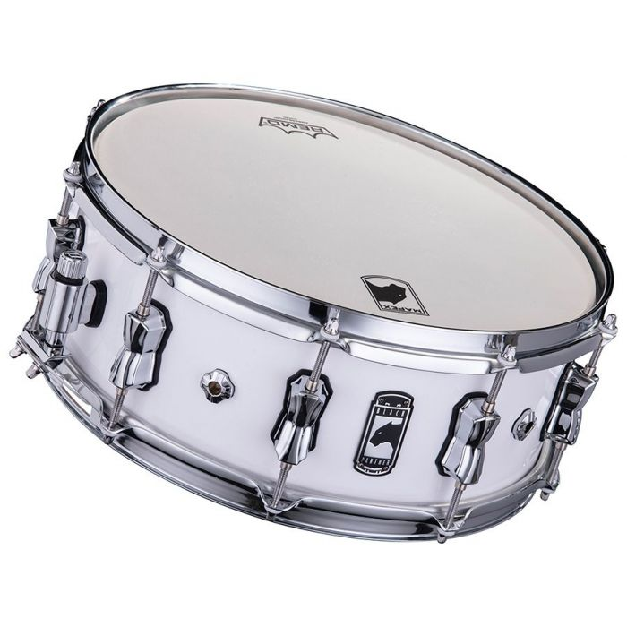 Front tilted view of a Mapex Black Panther Venmop Maple Shell Snare