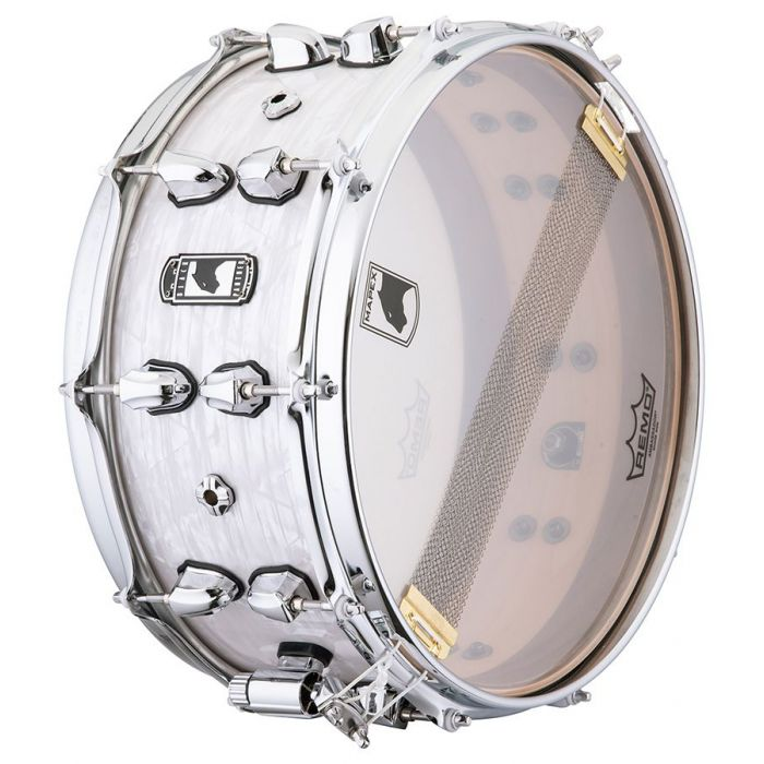 Underside view of the snare on a Mapex Black Panther Heritage Maple Shell Snare drum