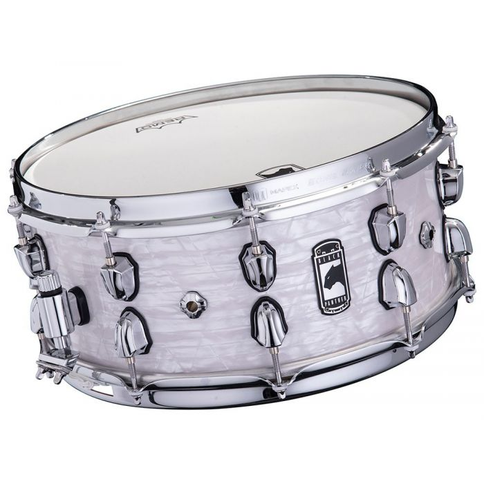 Front tilted view of a Mapex Black Panther Heritage Maple Shell Snare