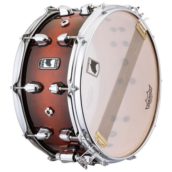 View of the underside head on a Mapex Black Panther Solidus Maple Shell Snare