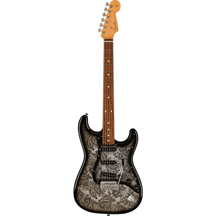 Full frontal view of a Fender FSR Made in Japan Stratocaster, Black Paisley