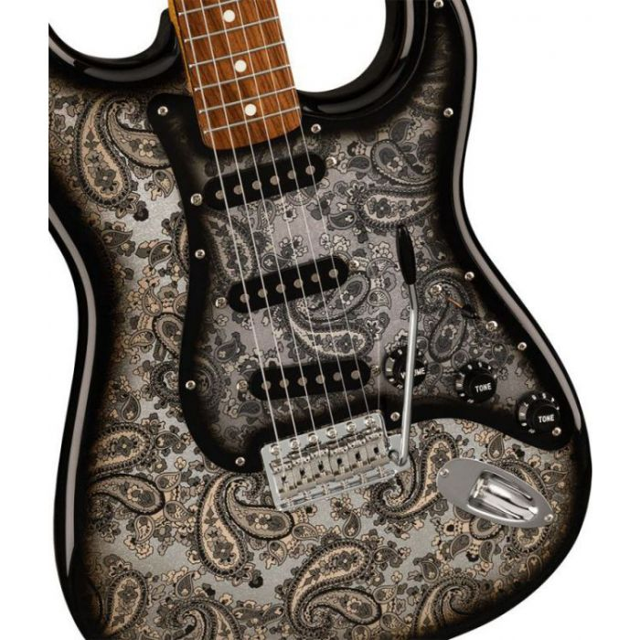 Closeup of the body on a Fender FSR Made in Japan Stratocaster, Black Paisley