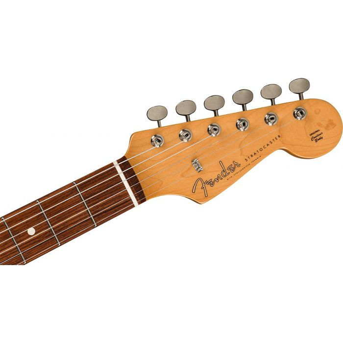 Front view of the headstock on a Fender FSR Made in Japan Stratocaster, Black Paisley