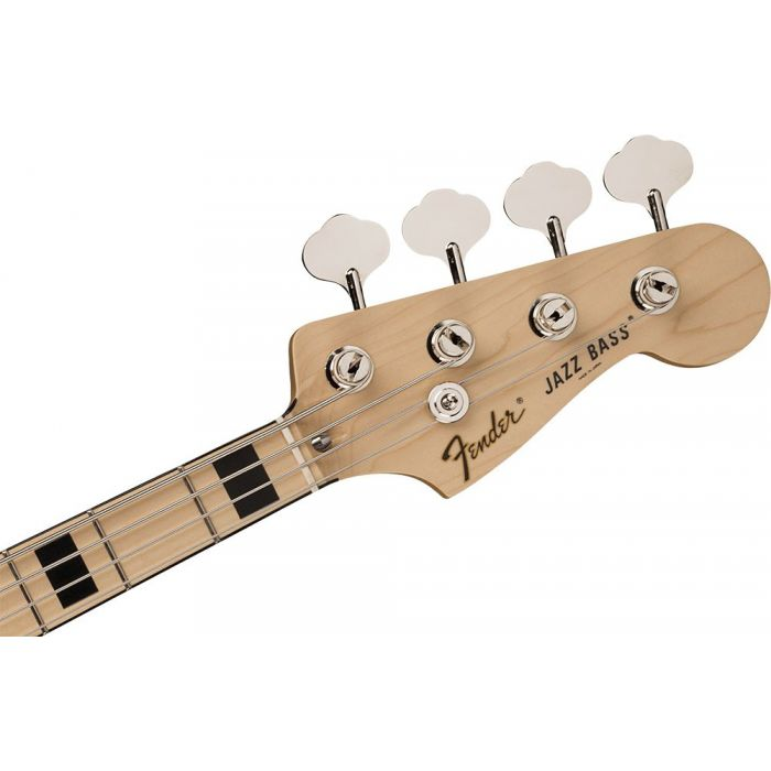 Front view of the headstock on a Fender FSR Made in Japan Jazz Bass Black Paisley