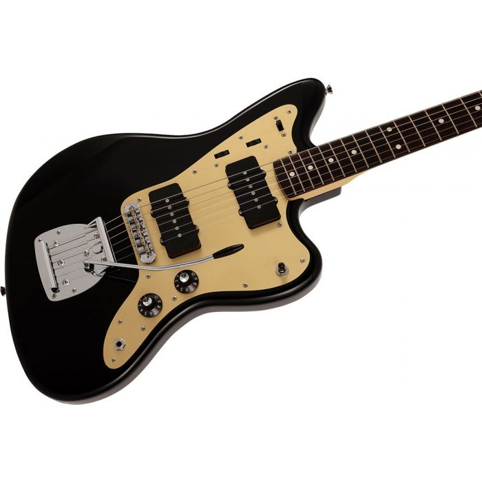 Closeup of the body on a Fender Made in Japan Inoran Signature Jazzmaster RW, Black
