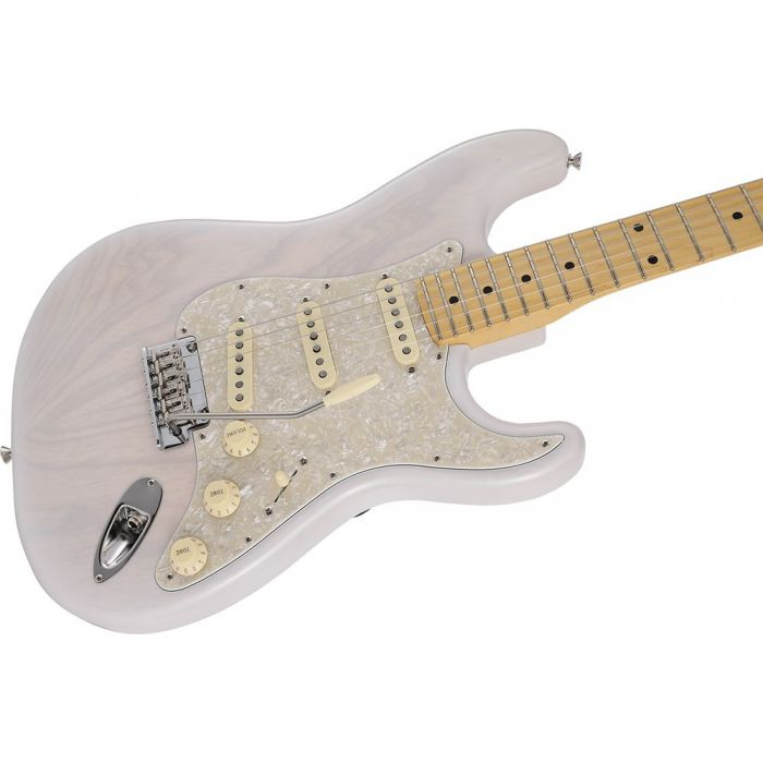 Closeup of the body on a Fender MIJ Limited Collection Stratocaster MN White Blonde