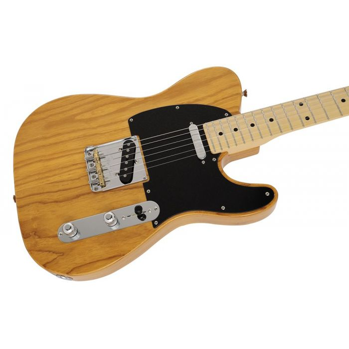 Closeup of the body on a Fender MIJ Limited Collection Telecaster, Vintage Natural