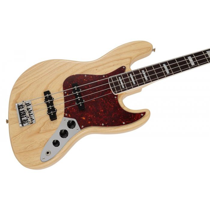 Closeup of the body on a Fender MIJ Limited Collection Jazz Bass, Natural