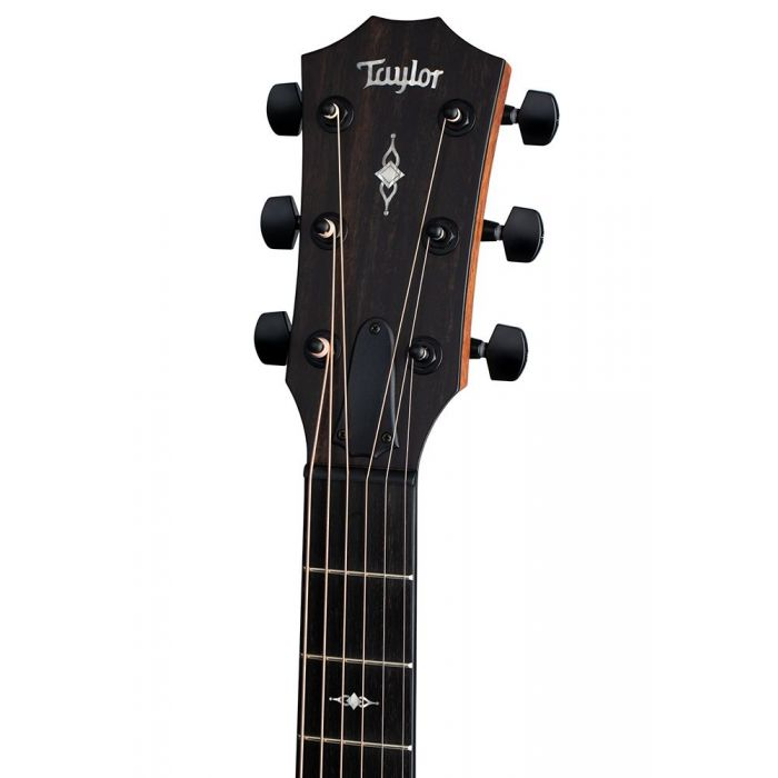 Front view of the headstock on a Taylor 326ce Grand Symphony V-Class Urban Ash