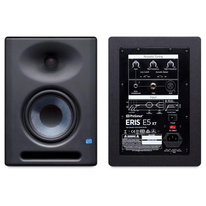 PreSonus Eris E5 XT Active Monitor Pair - Front and Back