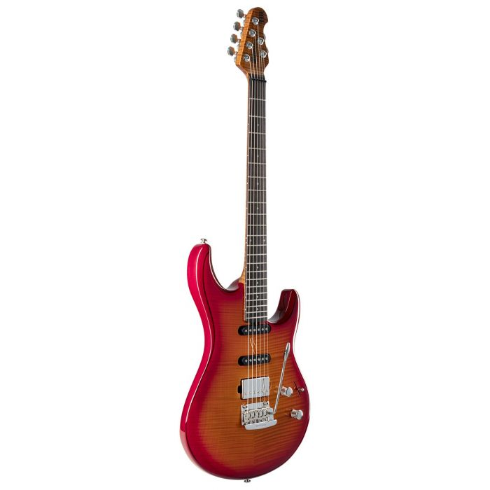 Front right angled view of a Musicman Luke 3 HSS Cherry Burst Flame Guitar