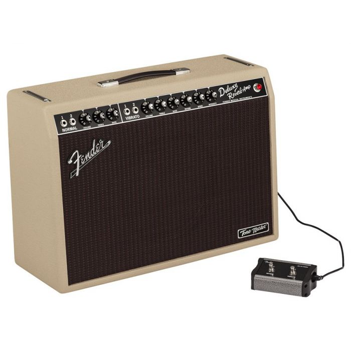 Angled view of a Fender Limited Edition Tone Master Deluxe Reverb Blonde and 2-button footswitch