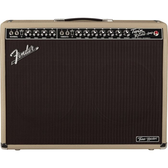 Full frontal view of a Fender Ltd Edition Tone Master Twin Reverb Blonde Combo Amp