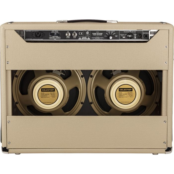 Full rear view of a Fender Ltd Edition Tone Master Twin Reverb Blonde Combo Amp