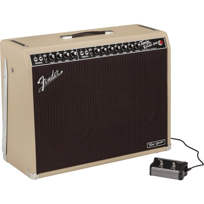Full view of a Fender Ltd Edition Tone Master Twin Reverb Blonde Combo Amp with its 2-button footswitch