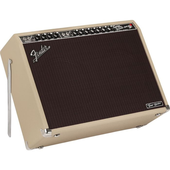 Tilted view of a Fender Ltd Edition Tone Master Twin Reverb Blonde Combo Amp