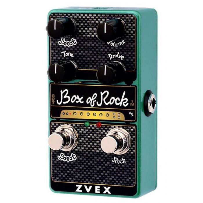 Front angled view of a ZVex Vexter Box Of Rock Vertical Overdrive Pedal