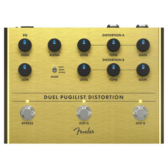 Top-down view of a Fender Duel Pugilist Distortion Pedal