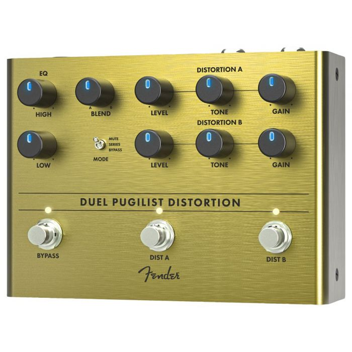 Front right angled view of a Fender Duel Pugilist Distortion Pedal