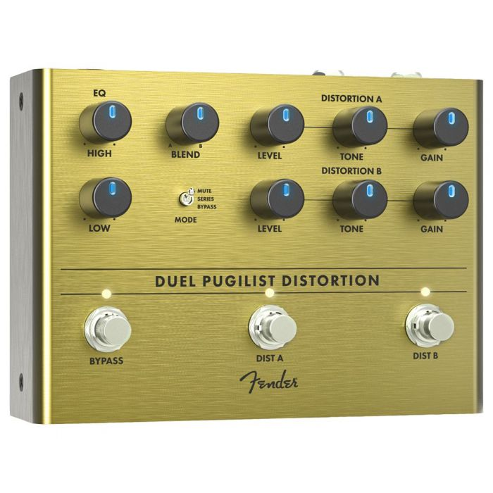 Front left angled view of a Fender Duel Pugilist Distortion Pedal