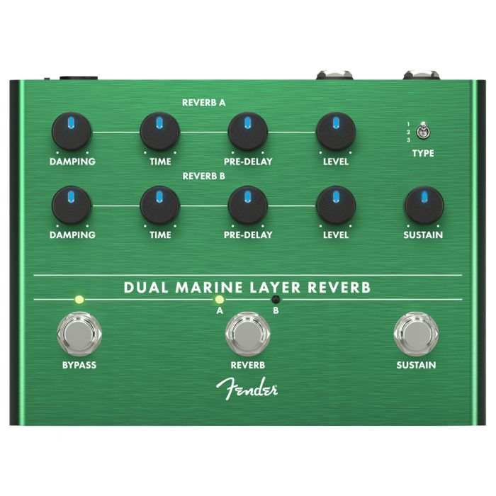 Top-down view of a Fender Dual Marine Layer Reverb Pedal