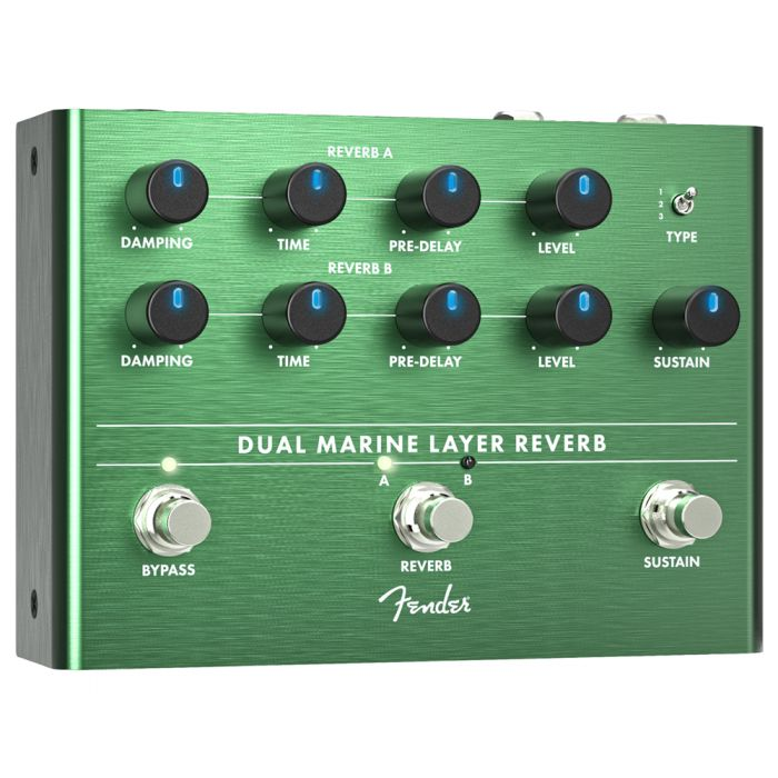 Front left angled view of a Fender Dual Marine Layer Reverb Pedal