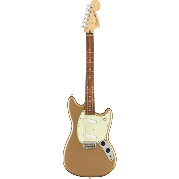 Full frontal view of a Fender Mustang PF Firemist Gold