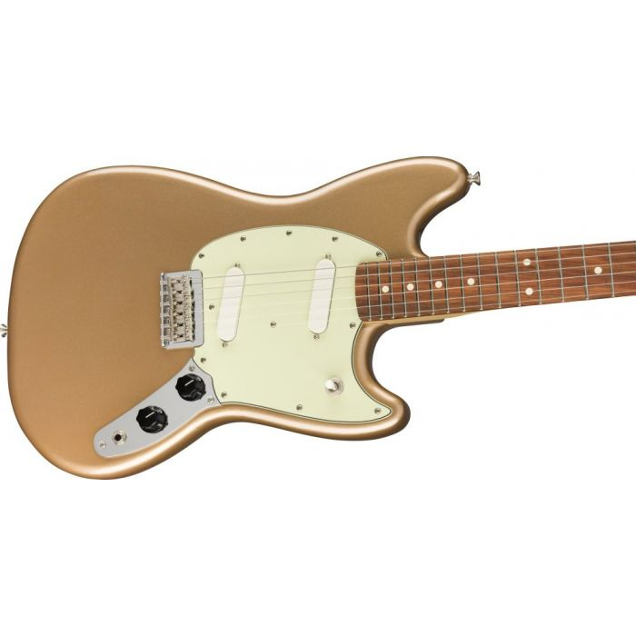 Closeup of the body on a Fender Mustang PF Firemist Gold