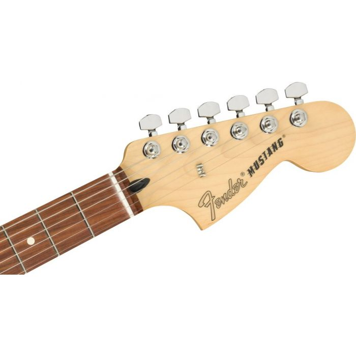 Front view of the headstock on a Fender Mustang PF Firemist Gold