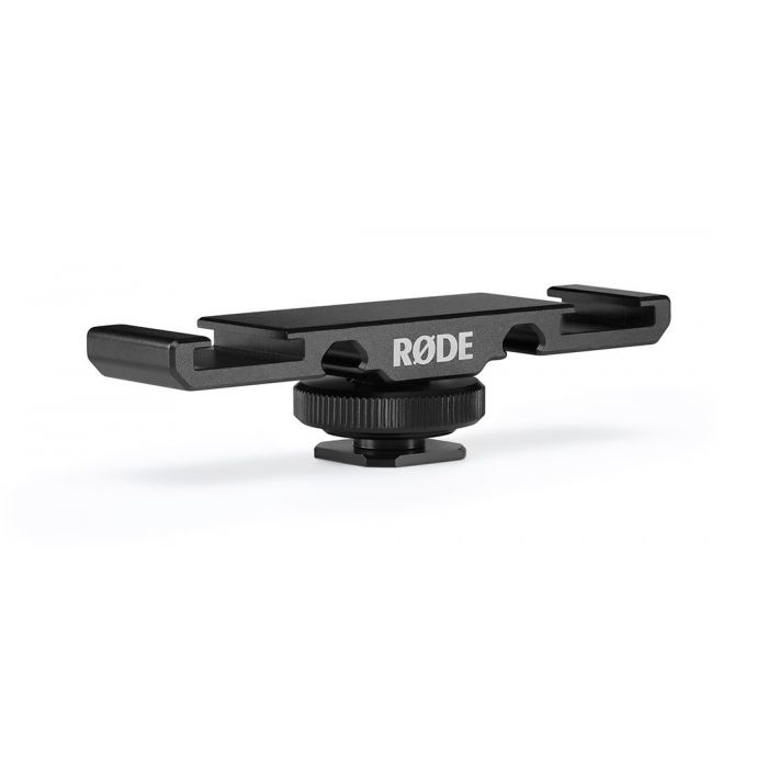 Full view of a Rode DCS-1 Dual Cold Shoe Mount