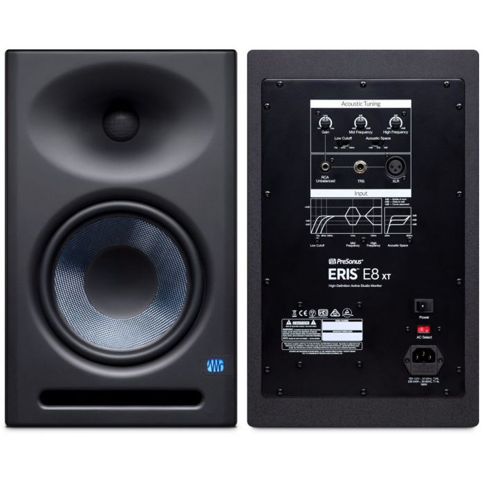 Front and Back of Presonus Eris E8 XT Studio Monitor Pack
