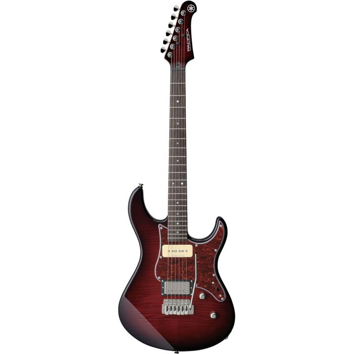 Full frontal view of a Yamaha Pacifica 611 VFM Electric Guitar Dark Red Burst