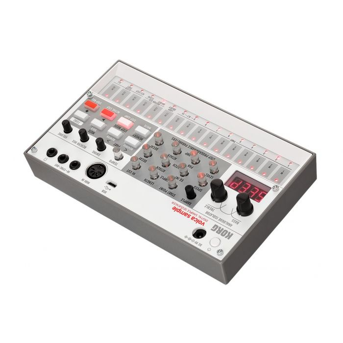 Rear-angled view of a KORG Volca Sample 2 Digital Sequencer