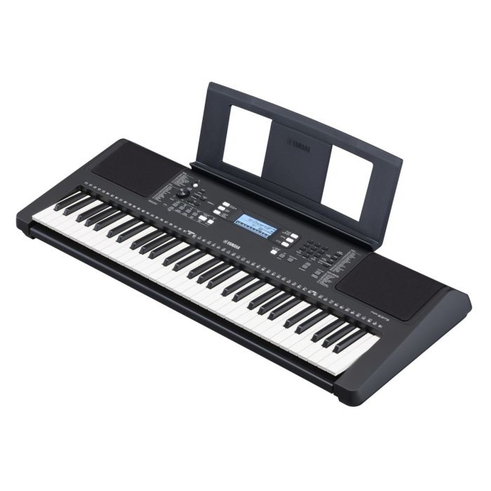 Angled View of Yamaha PSR-E373 Portable Keyboard with Music Rest