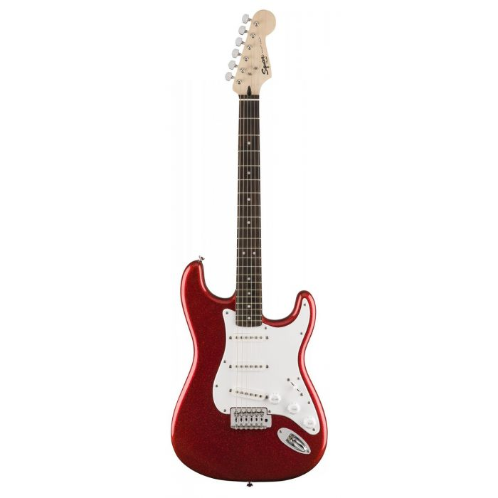 Full frontal view of a Squier FSR Bullet SSS Stratocaster, Red Sparkle