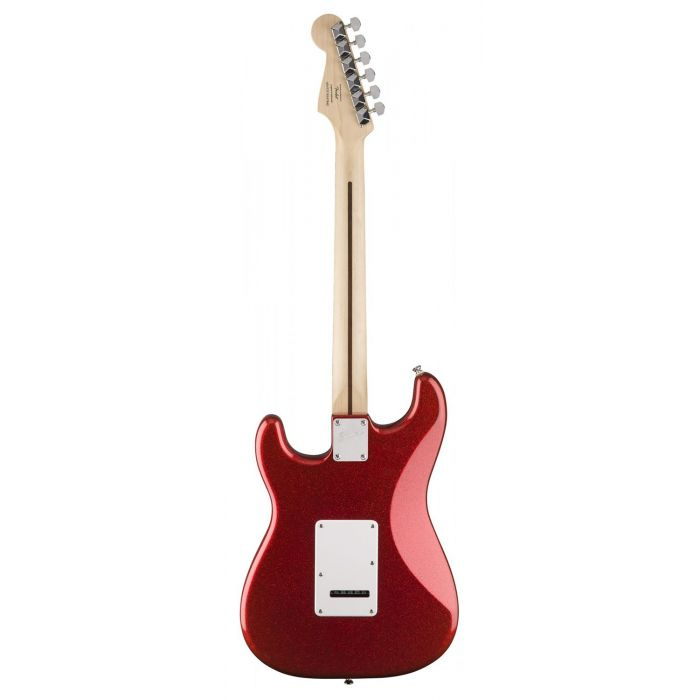 Full rear view of a Squier FSR Bullet SSS Stratocaster, Red Sparkle