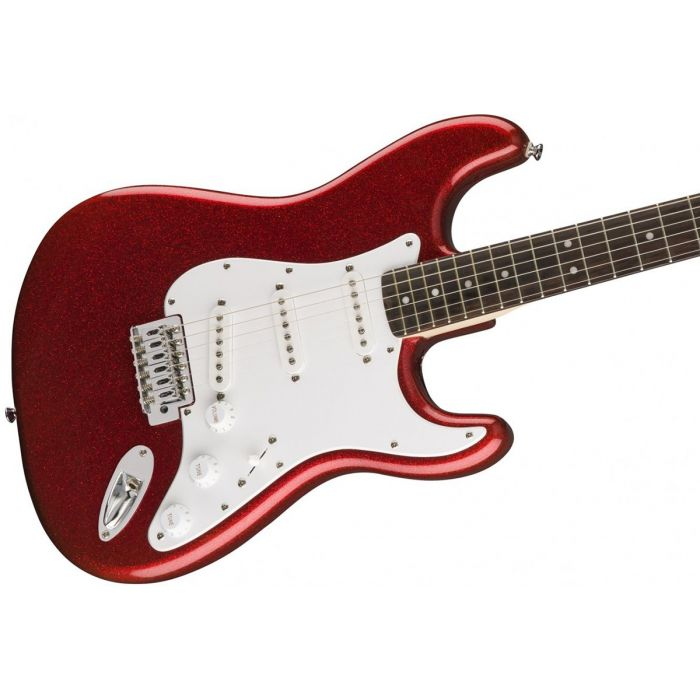 Closeup of the body on a Squier FSR Bullet SSS Stratocaster, Red Sparkle