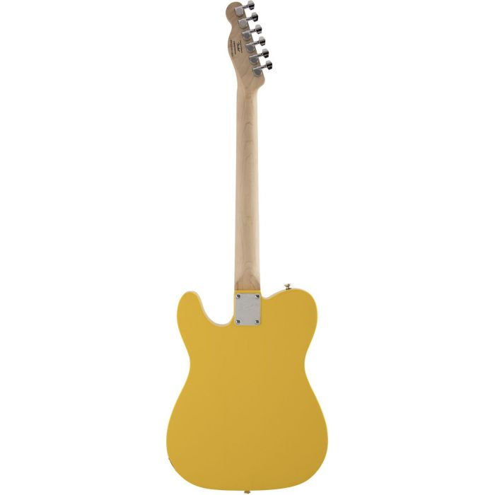 Full rear view of a Squier FSR Affinity Series Telecaster, Graffiti Yellow