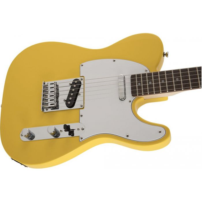 Closeup of the body on a Squier FSR Affinity Series Telecaster, Graffiti Yellow