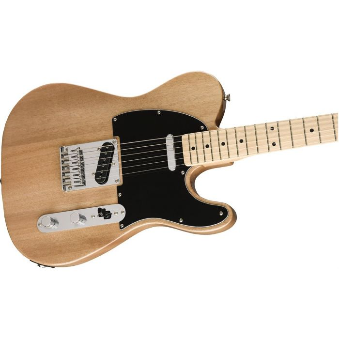 Closeup of the body on a Squier FSR Affinity Series Telecaster, Natural