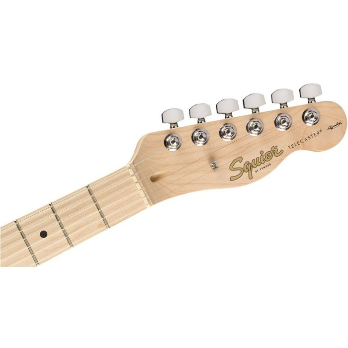 Front view of the headstock on a Squier FSR Affinity Series Telecaster, Natural