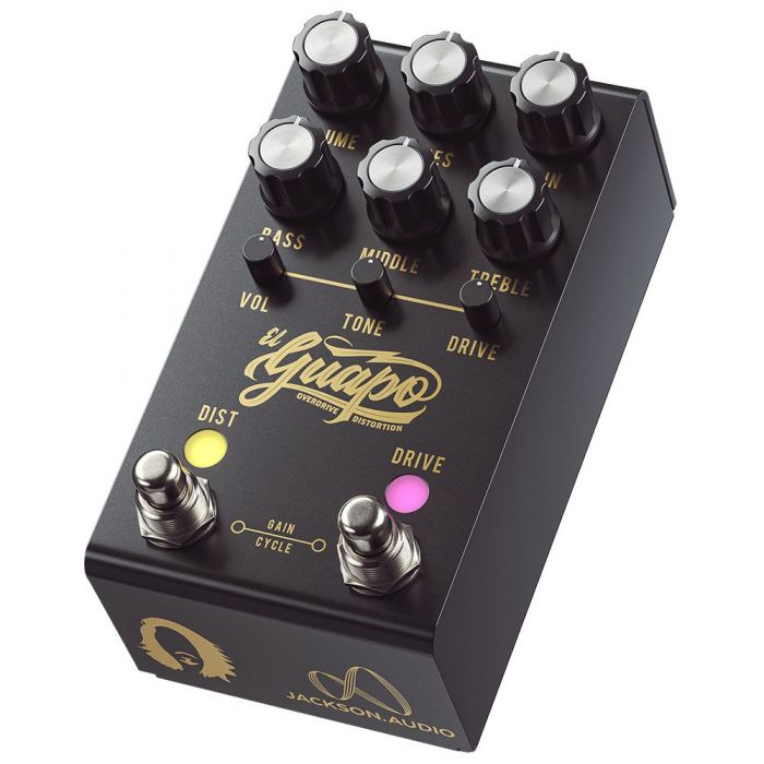Front angled view of a Jackson Audio El Guapo Mateus Asato Signature Overdrive Pedal